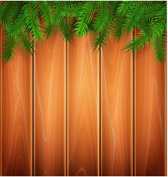 christmas poster spruce tree branch wooden vector image