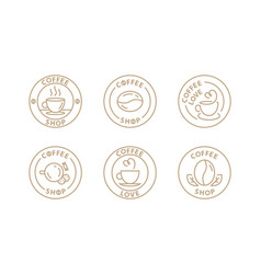 coffee logo set template for cafe in modern line vector image