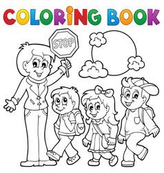 Coloring book school kids theme 1 vector
