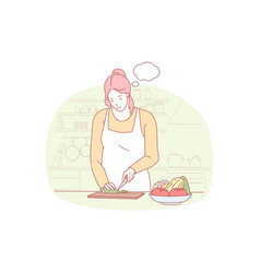 Cooking preparing dinner gastronomy concept vector