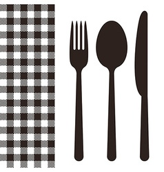 Cutlery and tablecloth pattern vector image