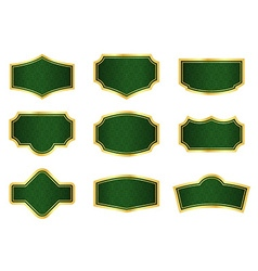 Dark green vine labels with gold frames vector