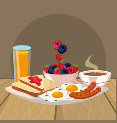 delicious tasty breakfast cartoon vector image