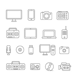 Different media devices collection vector image