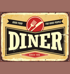 Diner retro sign board vector