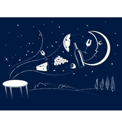 Dinner in the moonlight vector