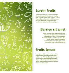 doodle fruits berries vegetables banner template vector image