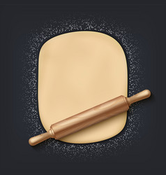 Dough and rolling pin realistic 3d bakery mix vector