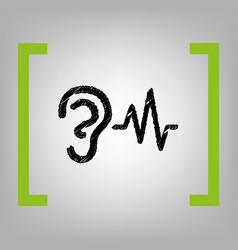 Ear hearing sound sign black scribble vector