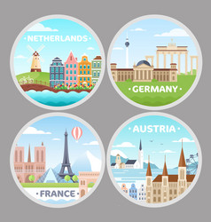 European countries magnets flat vector