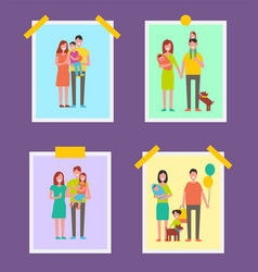 Family people pictures set vector