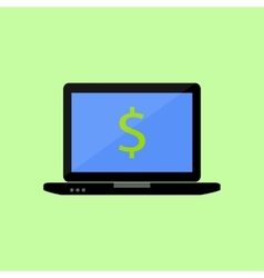 Flat style laptop with dollar vector image vector image