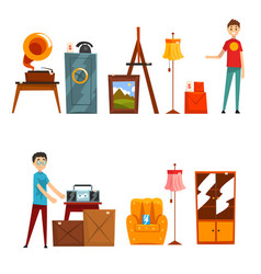 Garage sale set people buying and selling old vector