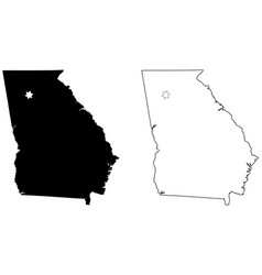 georgia ga state map usa with capital city star vector image