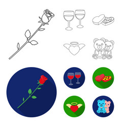 Glasses with wine chocolate hearts bears vector