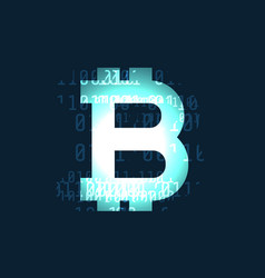 glowing bitcoin cryptocurrency symbol on dark vector image