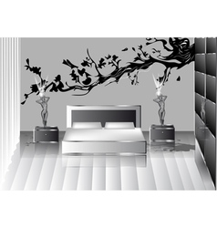 Grey bedroom vector