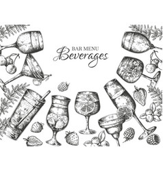 hand drawn cocktails background alcoholic vector image