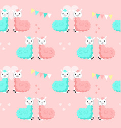 happy cute alpaca couples seamless pattern vector image
