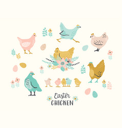 happy easter set of easter chicken for vector image