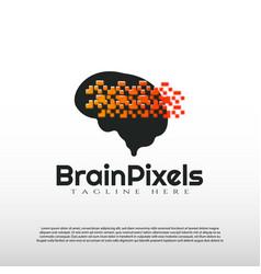 Human brain logo with digital concept future vector