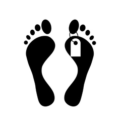 Human feet with toe tag icon simple style vector