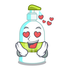 In love liquid soap isolated with on mascot vector
