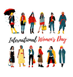 international women s day template for a poster vector image