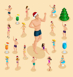 Isometric celebration of christmas sea beach vector