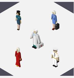 Isometric human set of seaman medic policewoman vector