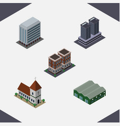 Isometric urban set of warehouse office tower vector