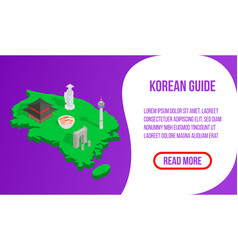 Korean guide concept banner isometric style vector