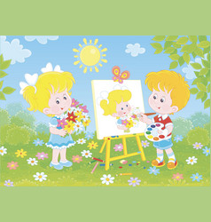Little painter with a beautiful portrait vector