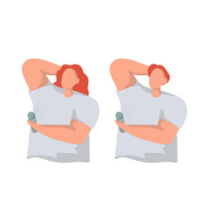 Man and woman use deodorant flat vector