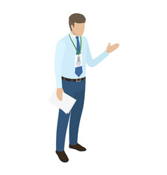 Manager with badge on neck holds paper in one hand vector