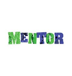 Mentor concept colorful stamped word vector