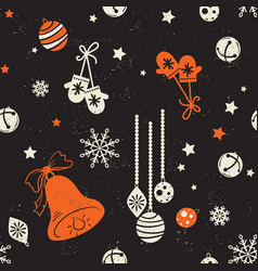 merry christmas and new year seamless pattern vector image