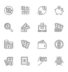 money outline icons set payment concept vector image