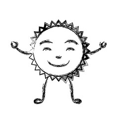 monochrome sketch of caricature of the sun smiling vector image