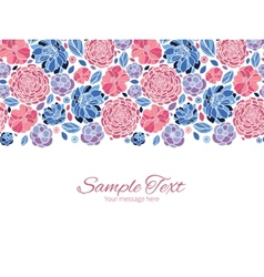 Mosaic flowers horizontal border greeting vector