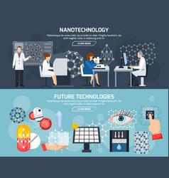 Nanotechnology horizontal banners vector