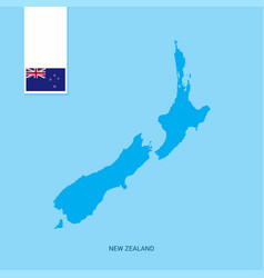 New zealand country map with flag over blue vector