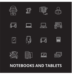 notebooks and tablets editable line icons vector image
