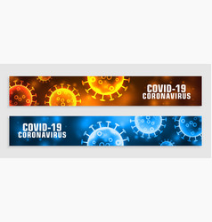 Novel covid19 coronavirus banner in two colors vector