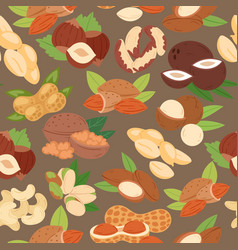 nuts collection flat cartoon seamless pattern vector image