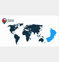 Oman location on the world map for infographics vector