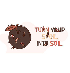 Organic waste banner poster with worms apple vector