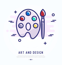 Palette and brush thin line icon vector