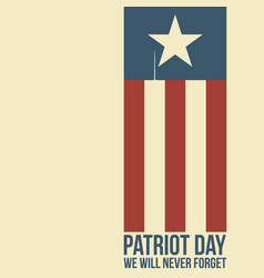 Patriot day two twin towers depicted on the flag vector