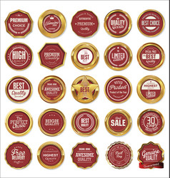 quality gold and red labels vector image
